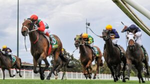 Pancho races to victory in the Kilmore Cup with Tavidance (white blinkers) desperately unlucky. Picture: Racing Photos