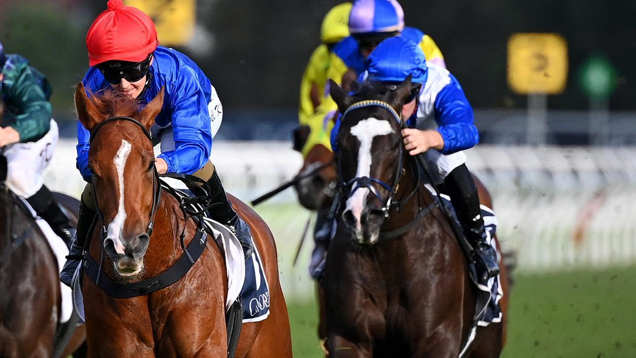 Sally's Day (right) flies fresh over the 1100m. Picture: AAP