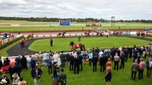 Owners were allowed at Sandown for the Zipping Classic meeting in a limited capacity. Picture: AAP