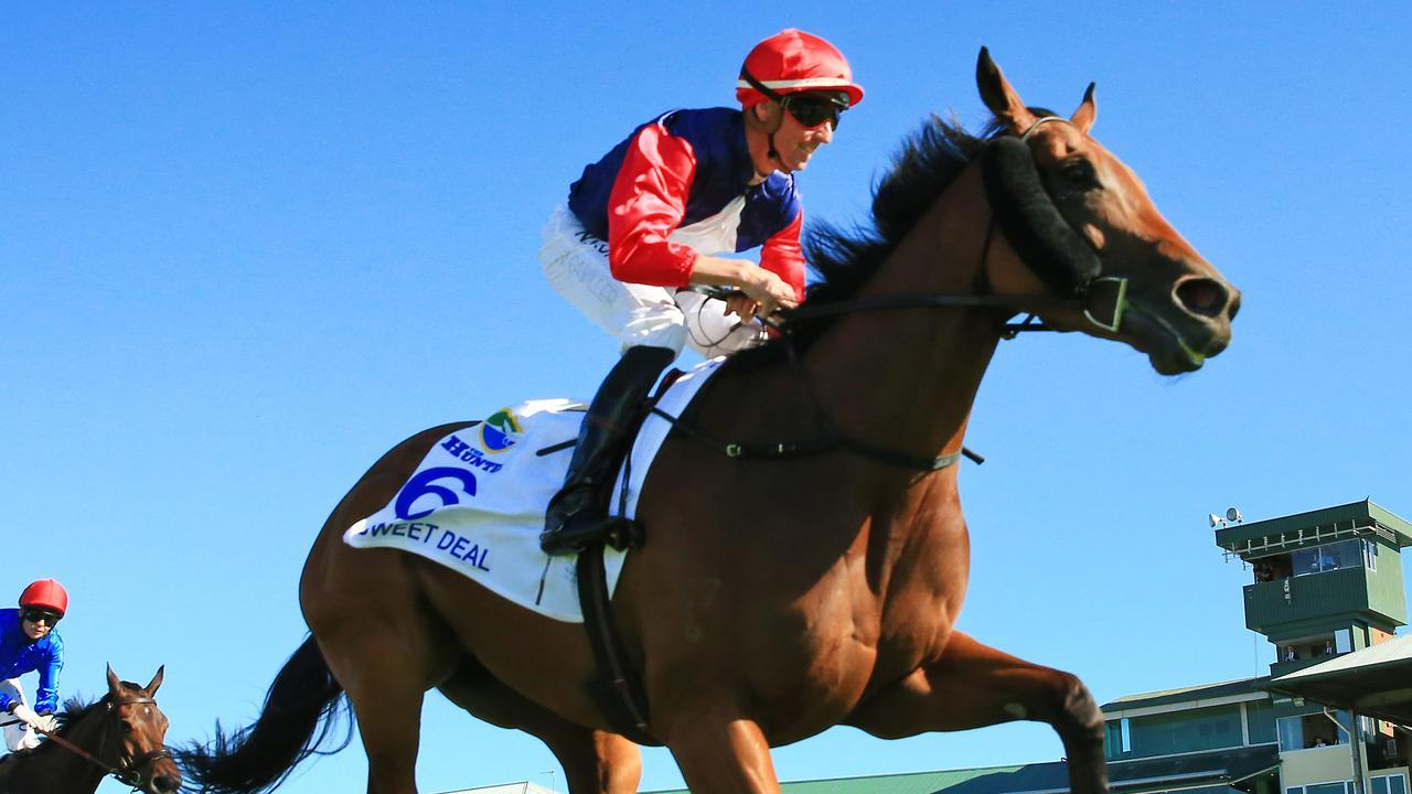 Nash Rawiller was all smiles as Sweet Deal snared victory in The Hunter at Newcastle. Picture: Getty Images