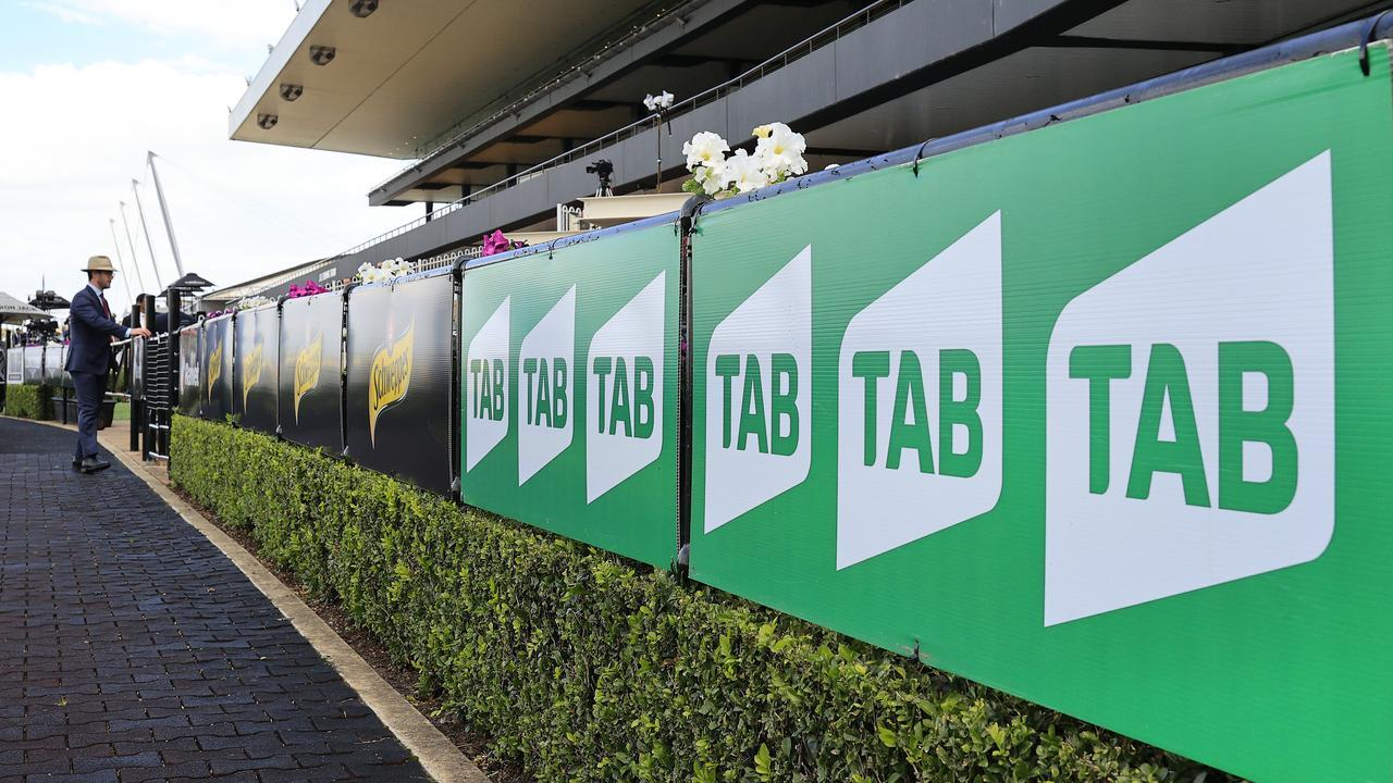 A TAB sign at Rosehill Gardens where the meeting was initially delayed after the TAB website crashed.