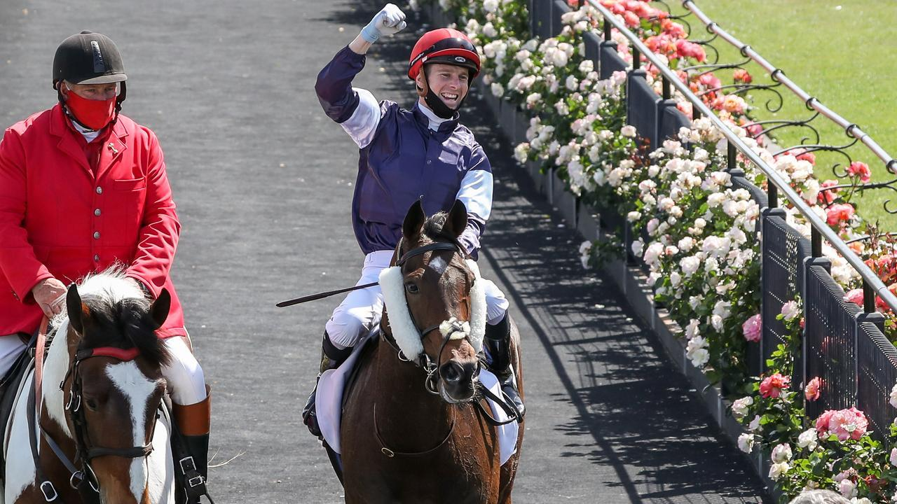 Jye McNeil celebrates his Melbourne Cup triumph in his first attempt in the race. Picture: Racing Photos via Getty Images