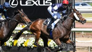 Twilight Payment and Jye McNeil cross the line to win Melbourne Cup.