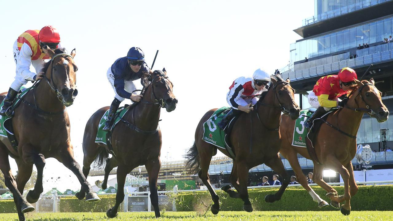 Peltzer (left) winning the Stan Fox Stakes last start ahead of Bondi Stakes rivals Acrophobic (second from right) and Prime Star (right). Picture: Getty Images