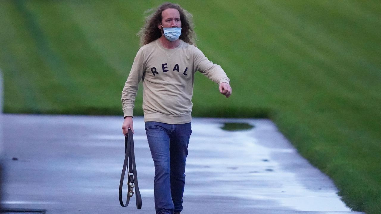 Trainer Ciaron Maher at The Valley to watch Grandslam go through his gears. Picture: Getty Images