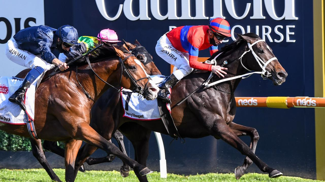 Mark Zahra rode Verry Elleegant to victory in the Caulfield Cup. Picture: Getty Images