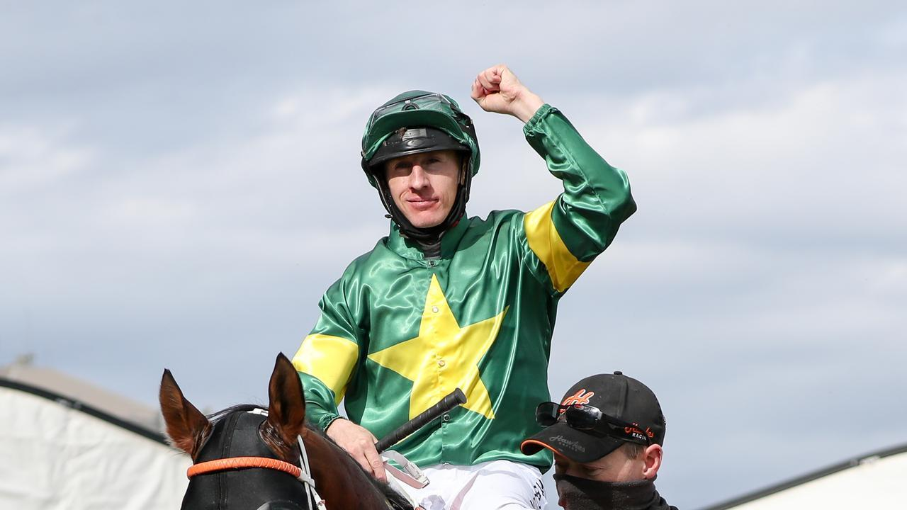 William Pike after winning the Caulfield Guineas on the Hawkes Racing-trained Ole Kirk. Picture: Racing Photos via Getty Images