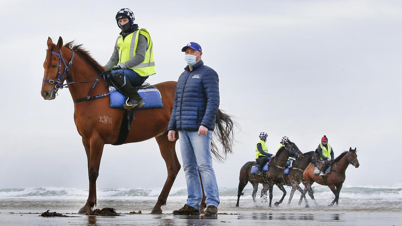Danny O'Brien on 13th Beach Barwon Heads with 2019 Melbourne Cup winner Vow and Declare. Photo: David Caird