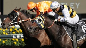 Quick Thinker (outside) wins the Australian Derby at Randwick in April. (Photo: Getty Images)