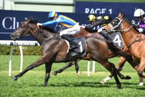 Kiss The Bride strides clear late to win at Randwick on Saturday.