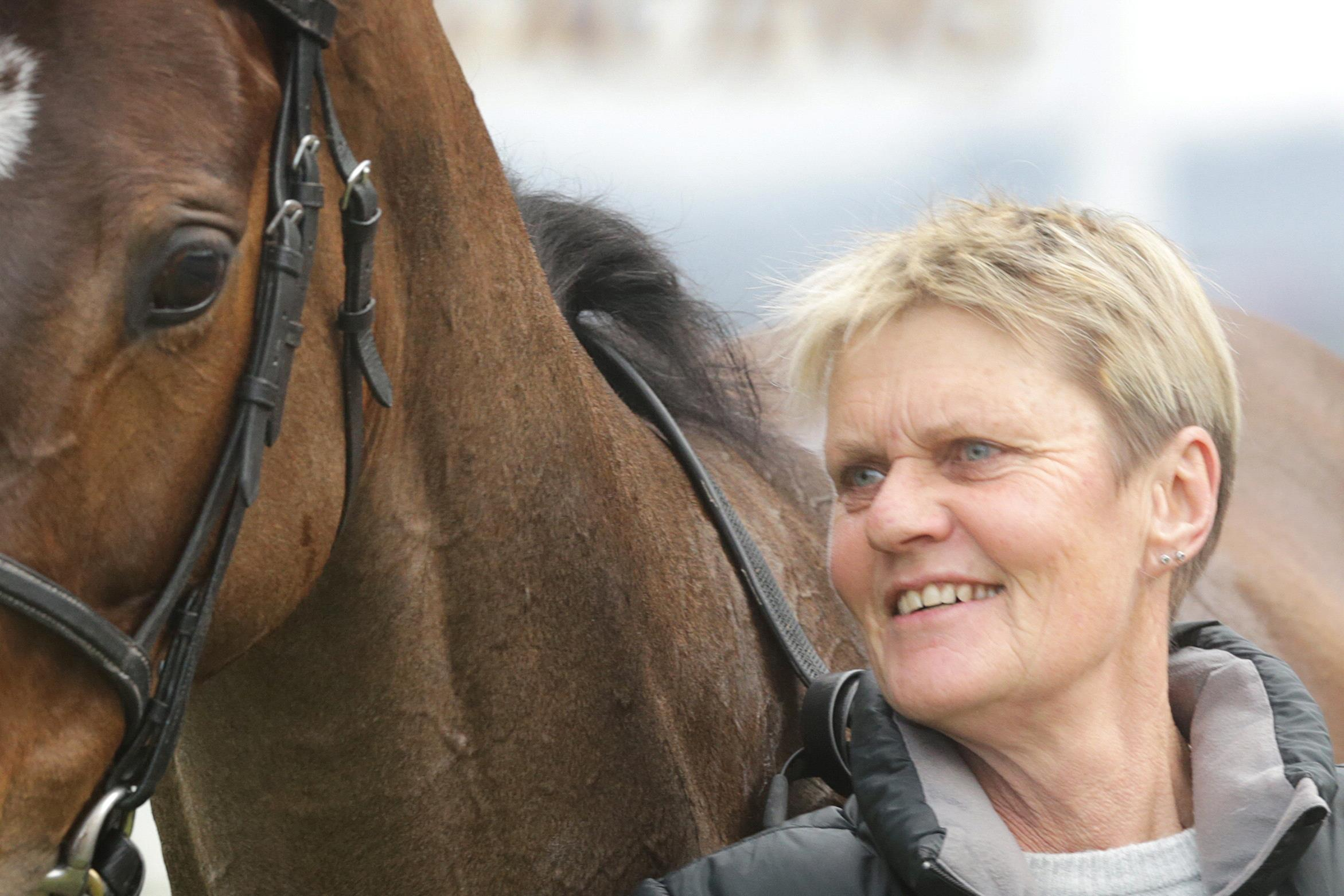 Diana Kennedy with her winner Sentito at the Avondale Racecourse in New Zealand.