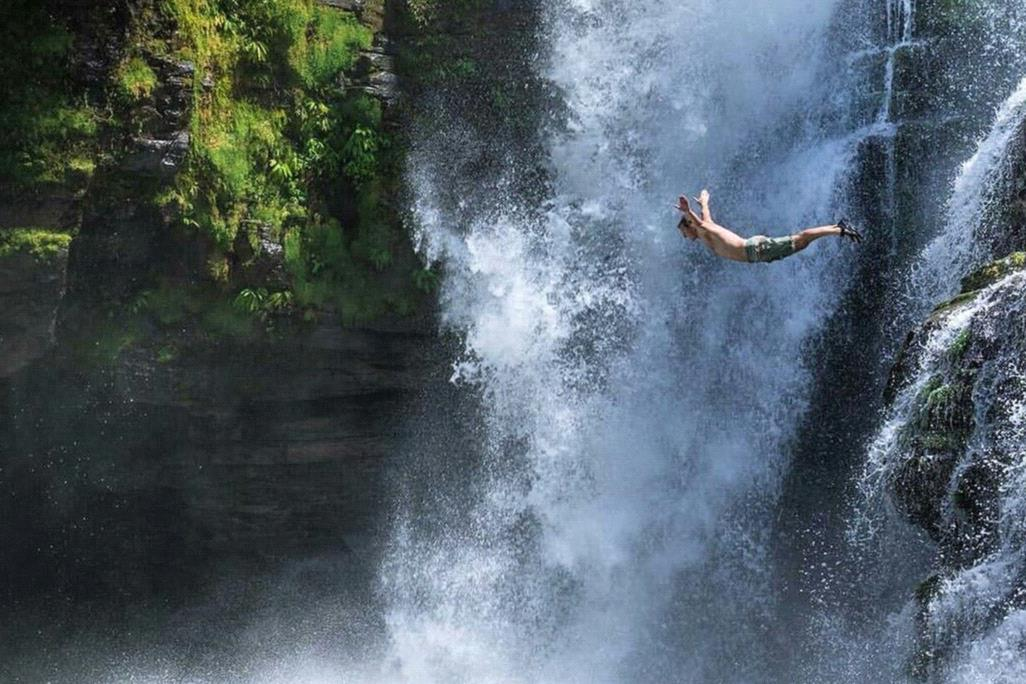 Jumping from a waterfall Exhilarates … so does winning.