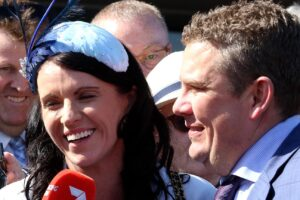 Trent Busuttin (right) and training partner Natalie Young will send Sierra Sue straight to the Schweppes Oaks.