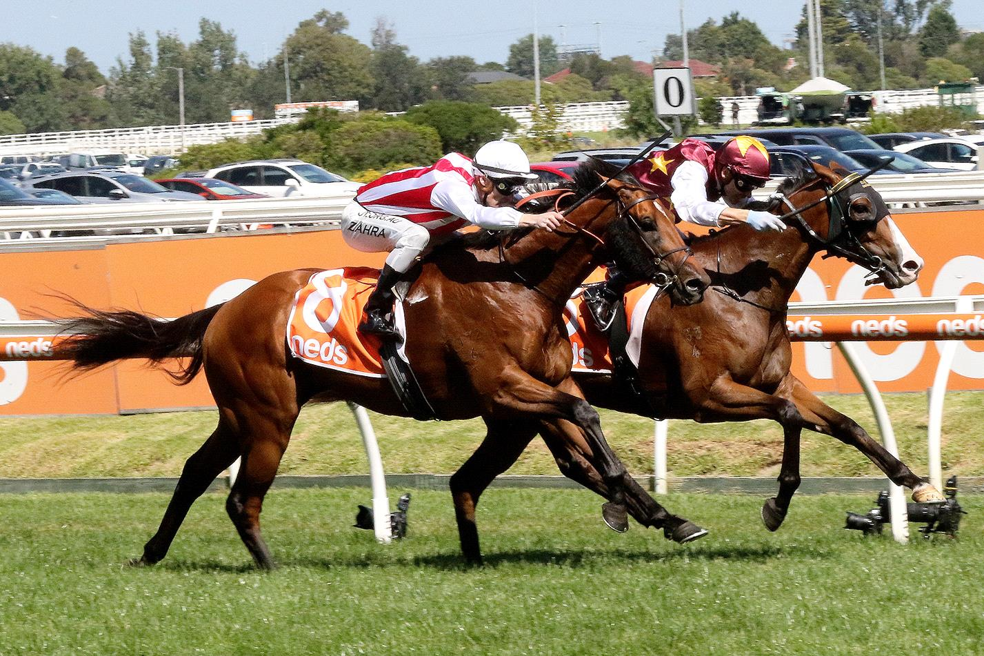 Streets Of Avalon (inside) held on to win the Futurity Stakes at Caulfield.