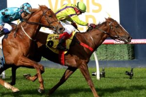 Parmie (green silks) will chase another win in The Vanity at Flemington.