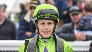 Jacob Opperman after winning the Christians Buslines Maiden Plate at Terang Racecourse on April 18