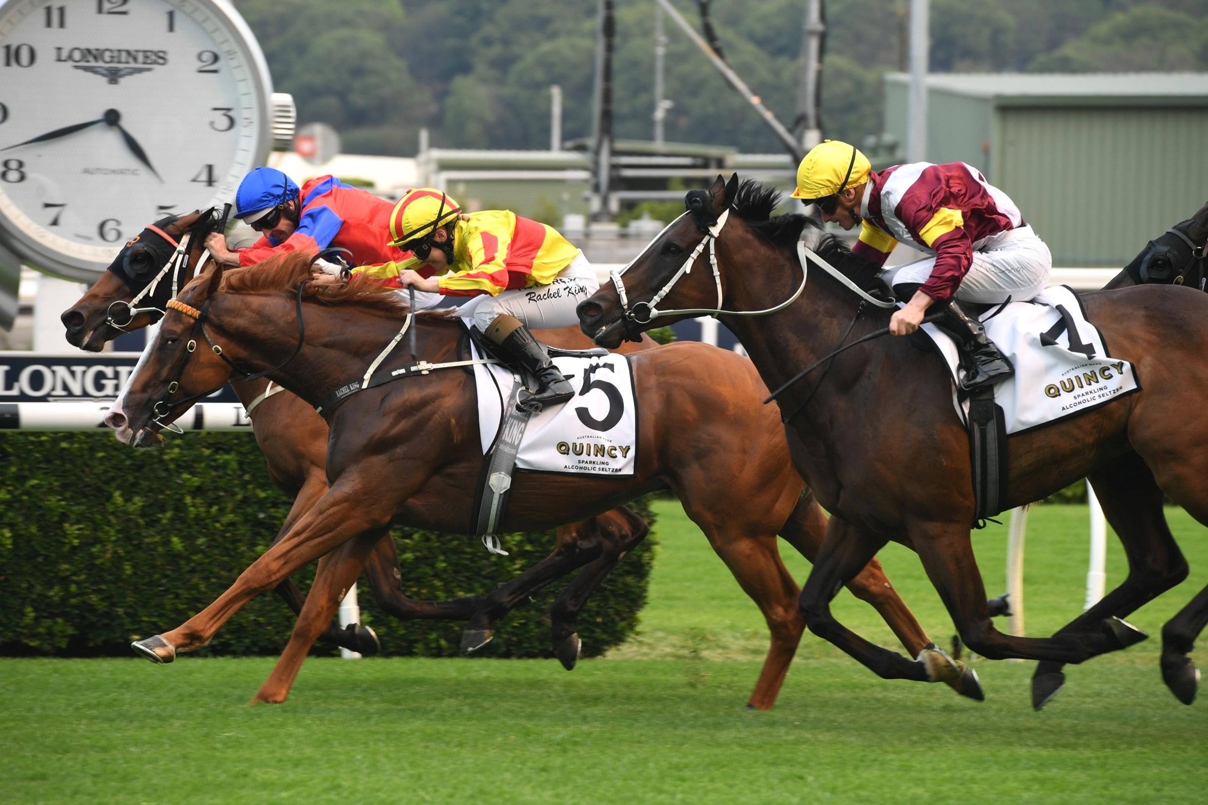 Quackerjack (yellow and red) winning the Villiers Stakes.