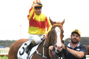 Rachel King brings Quackerjack back to scale after winning the  Villiers Stakes at Randwick on Saturday.