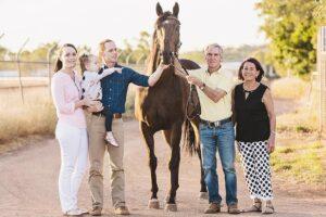 Jockey Dan Ballard (third from left) with wife Lacey