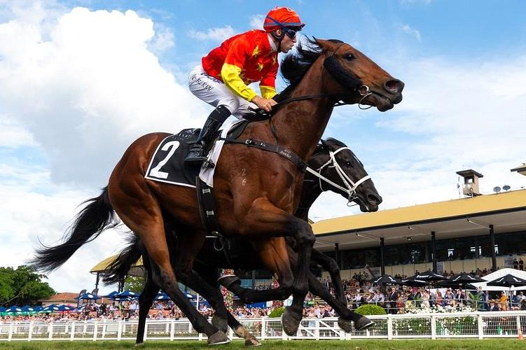 Tommy Berry winning the BRC Sires' Produce Stakes on Strasbourg.