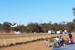 Medivac Helicopter landing at Tomingley.