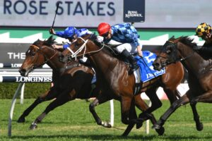 Funstar (middle) prevails in a thrilling edition of the Tea Rose Stakes on Saturday.