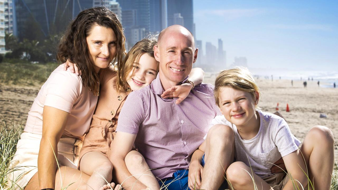 William Pike enjoys the Gold Coast beach with partner Jessica Valas and kids Aspen, 8 and Jett, 10. Picture: Nigel Hallett