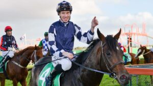 John Allen celebrates winning the South Australian Derby with Russian Camelot last year. Picture: Brenton Edwards