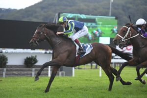 Brandenburg wins the first running of The Coast at Gosford on Saturday. Photo: Steve Hart.
