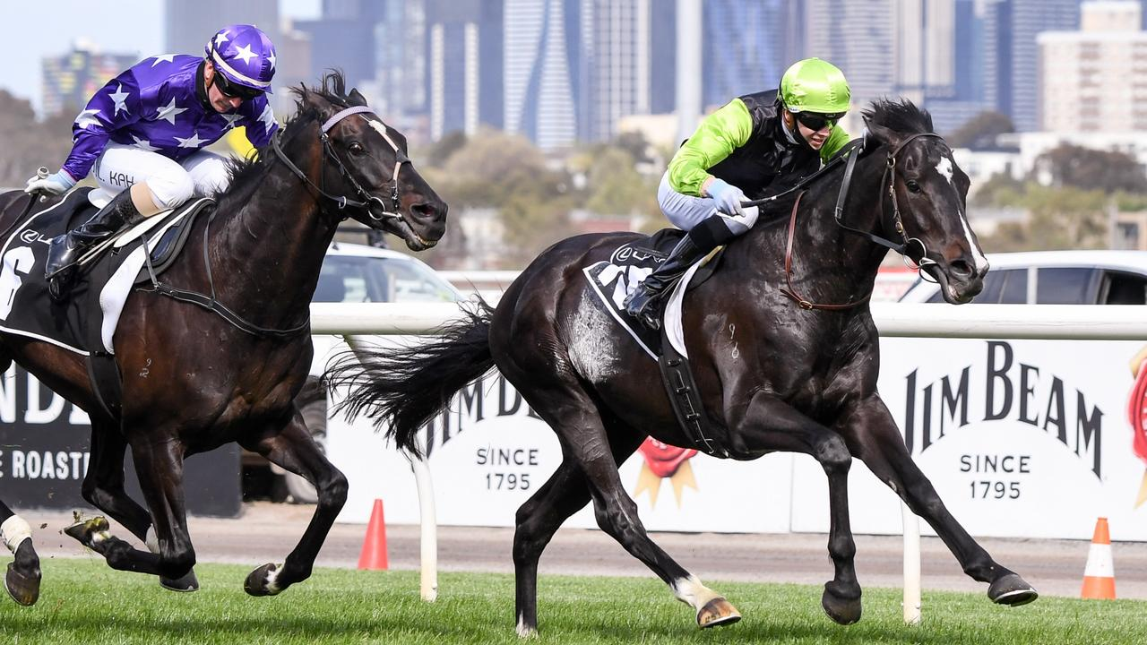 Persan surges to win the Group 3 Bart Cummings last year at Flemington. Picture: Getty