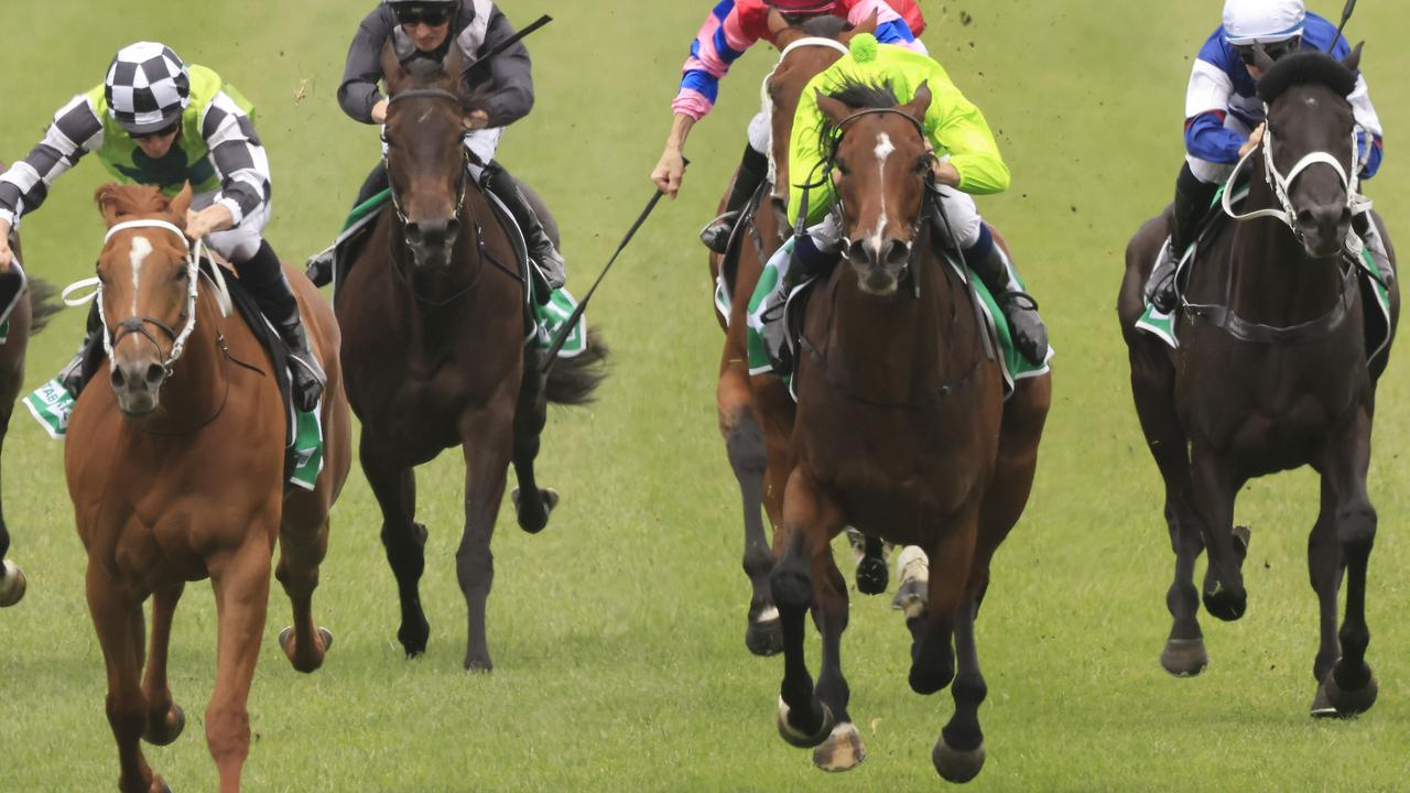 Air To Air (all green) runs in the Group 3 Dark Jewel Classic on Friday. Photo: Mark Evans/Getty Images