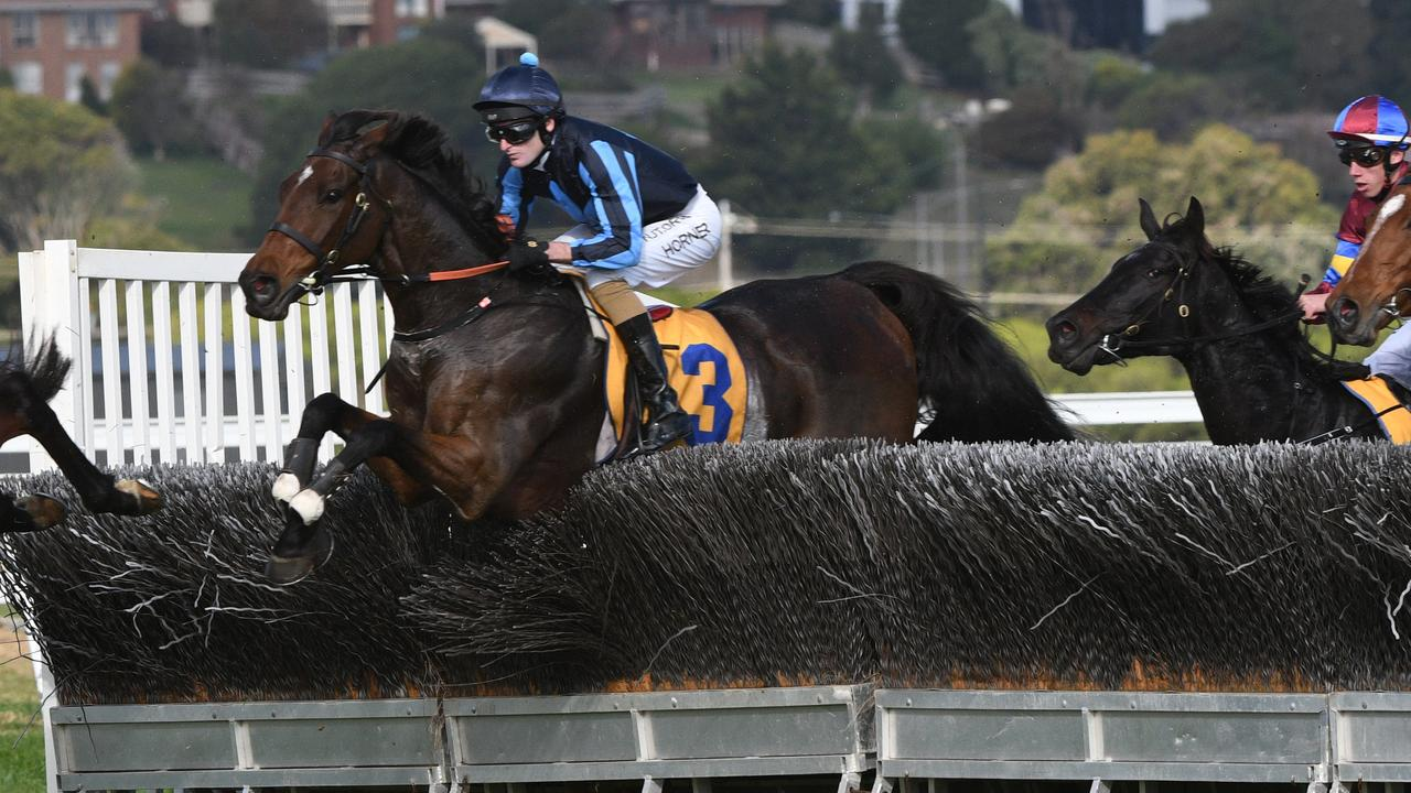 Darryl Horner Jr guided Flying Agent to a dominant win in the Brierly Steeplechase at Warrnambool. Picture: Getty Images