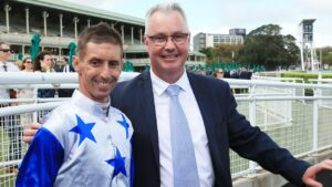 Tony Pike (right) with Nash Rawiller after winning with at Randwick in March last year. Picture: Mark Evans/Getty Images