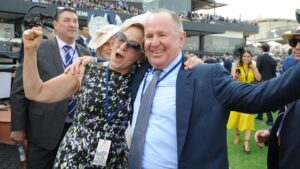 Neville Morgan and his wife celebrate Kolding's victory in the Golden Eagle in 2019. Picture: AAP