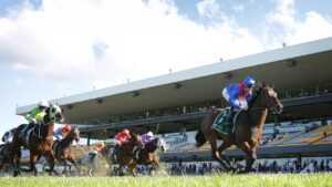 Tommy Berry and Lost And Running clear out with the Vinery Luskin Star Stakes at Rosehill Gardens. Photo: Mark Evans/Getty Images