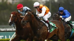 Diamondsandjewels (red cap) hasn't raced since running second on debut at Canterbury, more than three years ago. Picture: AAP