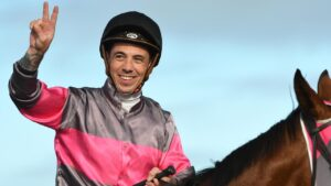 Jockey Dean Holland has three great chances to return to scale a winner at Monday's Ballarat Synthetic meeting. Photo: Vince Caligiuri/Getty Images.