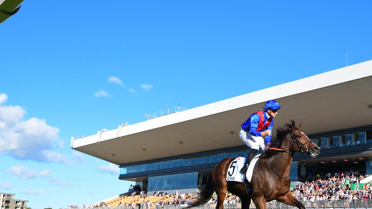 Zaaki, ridden by James McDonald, races away to win the Doomben Cup. Picture: Grant Peters/Trackside Photography