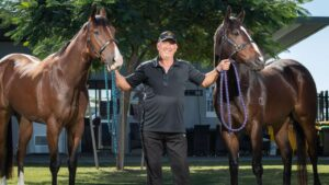 Rob Heathcote with Prince Of Boom (left) and Group 1 winner and Queensland favourite Rothfire (right). Picture: Brad Fleet