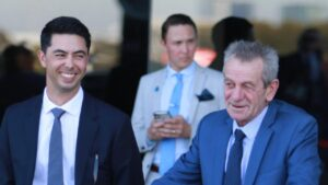 Sterling Alexiou (left) and Gerald Ryan have a promising youngster in Sinba looking to make it two in a row at Gosford on Thursday. Photo: Grant Guy