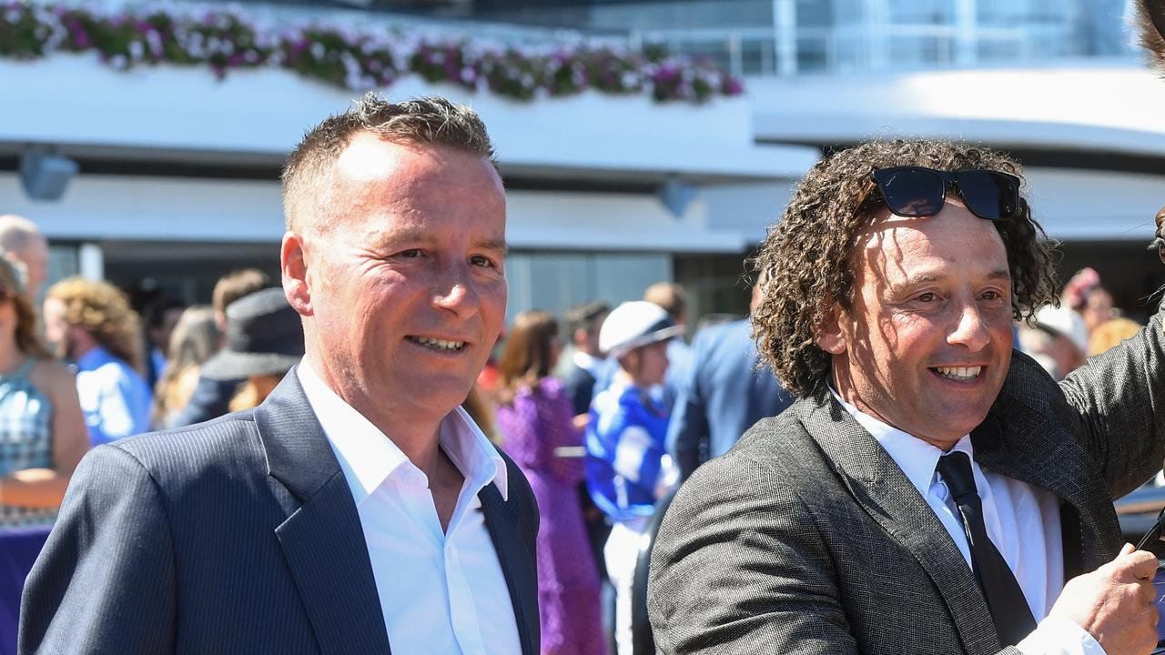 Co trainers Mathew Ellerton and Simon Zahra weren't smiling after Phondle made her debut at Sale on Thursday. Picture : Racing Photos via Getty Images.