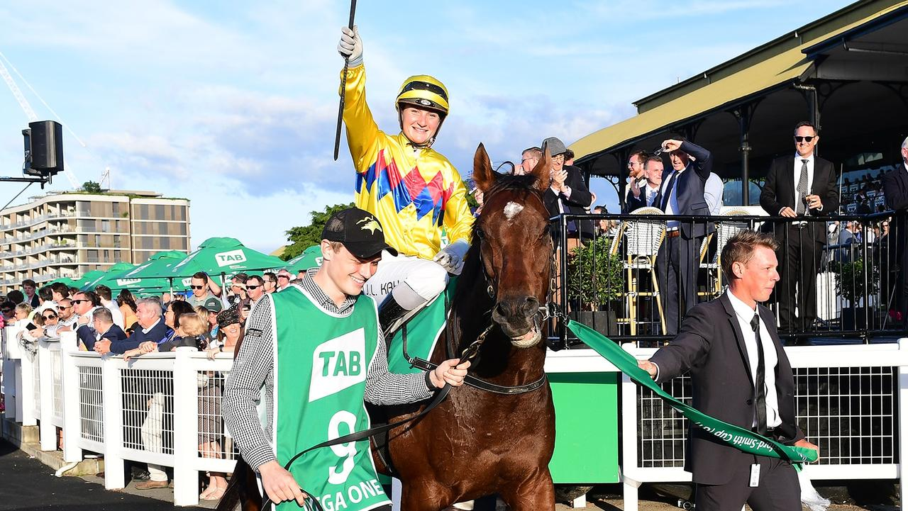 Jamie Kah stunned the Eagle Farm crowd with her winning ride aboard Vega One in the Kingsford-Smith Cup. Picture: Grant Peters/Trackside Photography