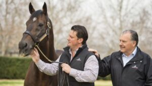 Redoute's Choice with John Messara (right) with son Paul at Arrowfield Stud. Photo: Bronwen Healy.