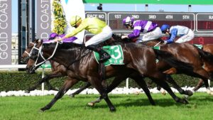 Subterranean winning the Ken Russell Memorial Classic at the Gold Coast. Picture: Grant Peters–Trackside Photography