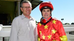 Jockey Craig Williams with his mentor, Group 1-winning former jockey Rod Quinn, in Brisbane. Picture: Trackside Photography