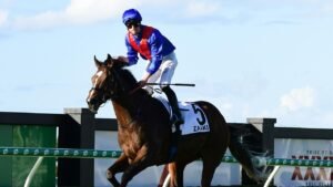 James McDonald knew Zaaki was going to win the Doomben Cup a long way from home. Picture: Trackside Photography