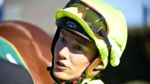Jockey Laura Lafferty will be off the scene for at least a month after her nasty fall at Swan Hill. Picture : Racing Photos via Getty Images.