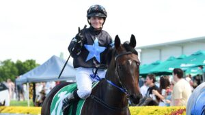 Apprentice jockey Madeleine Wishart and Ipswich Cup contender Flash Aah. Picture: Trackside Photography