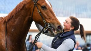 Megan Dunseath, during strapping duties with Pintoff at Caulfield, will have her first race ride at Warrnambool on Thursday. Picture: Racing Photos