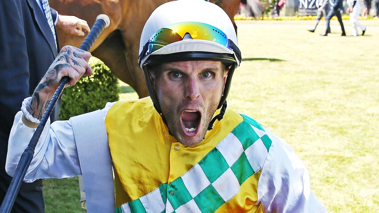 Jason Waddell, celebrating after winning the Harcourts Thorndon Mile in 2019, has been disqualified from racing. Picture: Getty Images